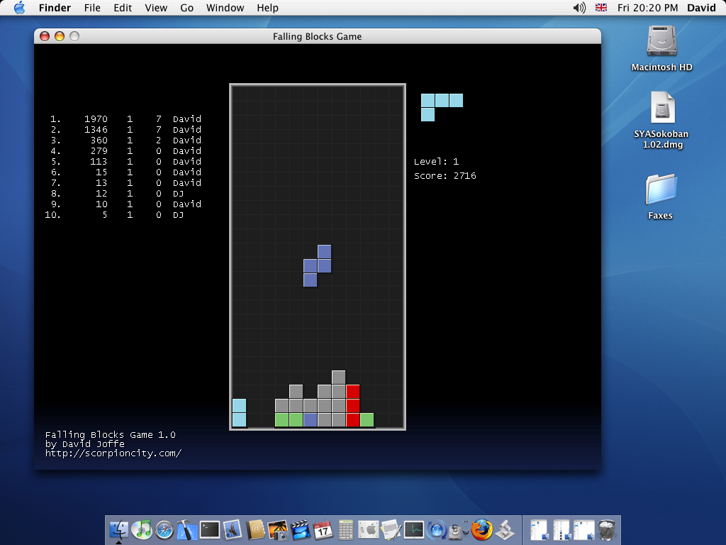 Falling Blocks Mac OS X screenshot
